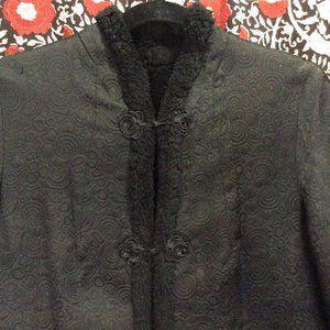 Brocade Faux Sherpa Lined Mandarin Collar Coat